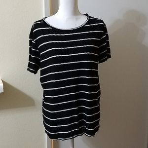 Everleigh Black & White Striped Short Sleeve Shirt